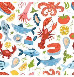 sea animal set seamless pattern with king crab vector image