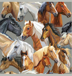 Seamless pattern horses heads vector