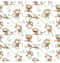 Seamless pattern with funny monkeys vector