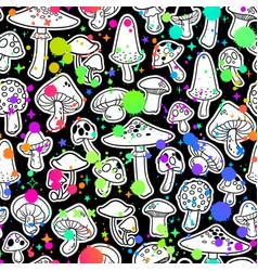 Seamless various images mushrooms vector