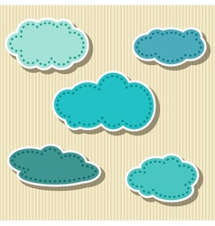 Set of Cloud-shaped Paper Tags vector image