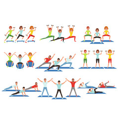 Set of people working out in gym young girls and vector