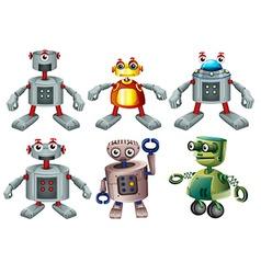 Six robots vector image