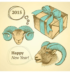 Sketch New Year ram and present in vintage style vector image