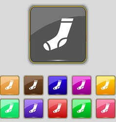 socks icon sign Set with eleven colored buttons vector image