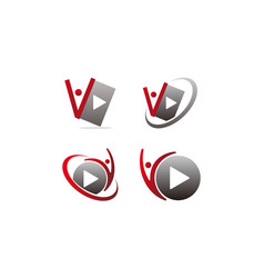 sound video service production set vector image