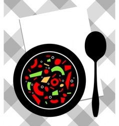 Soup on plate vector