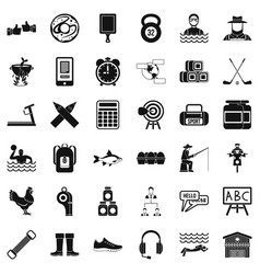 Sport accessories icons set simple style vector