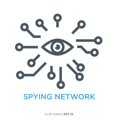 Spying network line flat icon vector