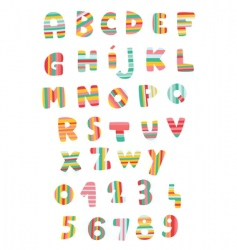 striped alphabet vector image