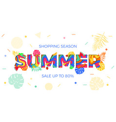 summer sale shopping discount palm leaf papercut vector image