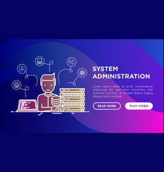System administrator near server laptop with code vector