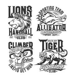 t-shirt prints with goat alligator lion tiger vector image