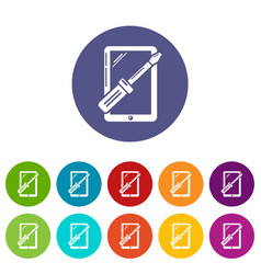 Tablet repair icons set color vector