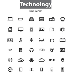 Technology line icons vector image
