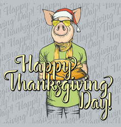 Thanksgiving pig concept vector