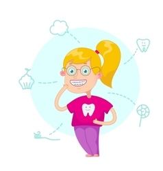 The girl with braces vector image