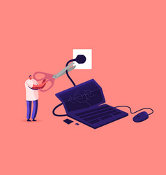 Tiny male character cut wire huge laptop vector