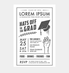 Vintage graduation party invitation card vector