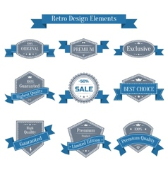 Vintage set of labels with ribbons vector
