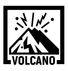 Volcano mountains logo simple style vector
