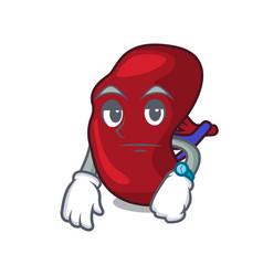 Waiting spleen mascot cartoon style vector