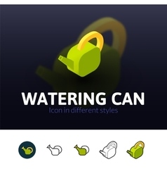 Watering can icon in different style vector image