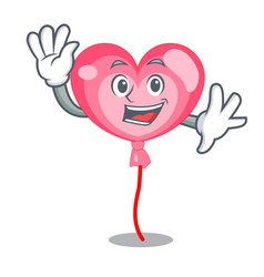 waving ballon heart character cartoon vector image