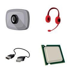 webcam headphones usb cable processor personal vector image
