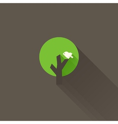 White bird and green tree on a brown background vector image