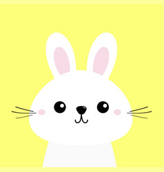 white bunny rabbit funny head baby face big ears vector image