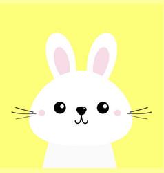 white bunny rabbit funny head baface big ears vector image