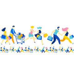 women men crowd running purchase buy paper bags vector image