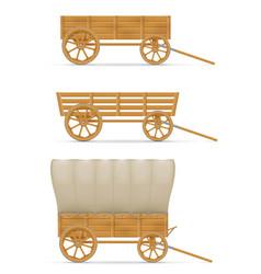 Wooden cart for horse vector