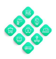 appliances consumer electronics line icons set vector image vector image