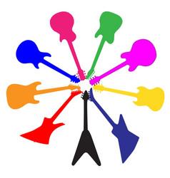 circle of guitars vector image vector image