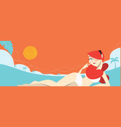 redhead sexy girl laying on the beach vector image vector image