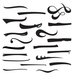 set of hand lettering underlines lines isolated on vector image