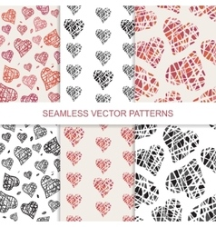 Set of seamless pattern with hand drawn vector image