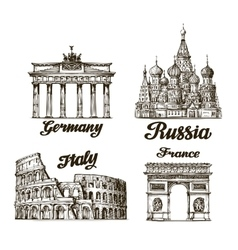 Travel Hand drawn sketch Berlin Moscow Rome vector image vector image