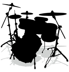 Drum silhouettes music instrument vector image vector image