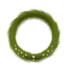 green christmas wreath decorated gold stars vector image