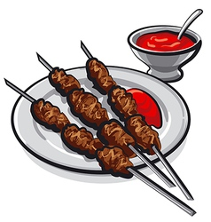 kebab and sauce vector image vector image