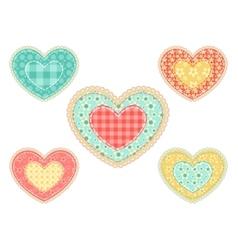 Set of patchwork hearts vector