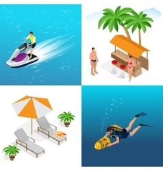 Summer concept of sandy beach Idyllic travel vector image vector image