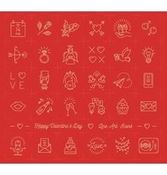 Valentine icon set love symbols flat design line vector image