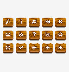 wood buttons with different menu elements vector image vector image
