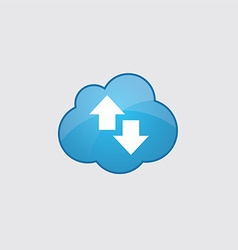 Blue cloud up and down arrow icon vector image