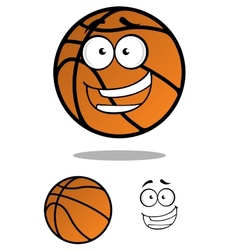 Cartooned basketball ball with smiling face vector image vector image
