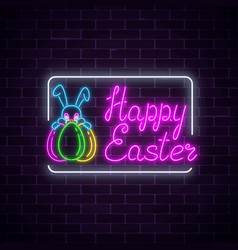 Glowing neon sign of easter bunny with eggs and vector